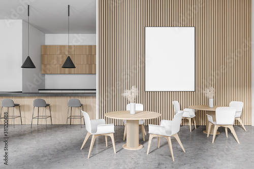 Poster in modern white and wooden restaurant with bar