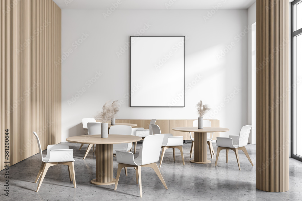 Modern white and wooden cafe interior with poster