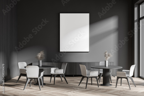Stylish dark gray cafe interior with poster and sofa Canvas