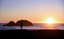 Sunset At The Historical Landmark Sutro Baths In San Francisco On The North Side Of Ocean Beach. And It's The Trail Head Of Lands End.