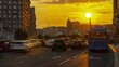 Traffic on the urban thoroughfare, overpass, at sunset, time lapse