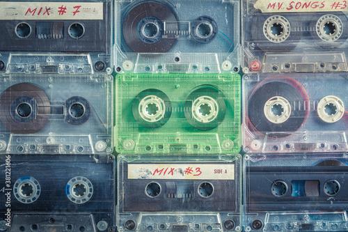 Vintage cassette tapes arranged in a grid Canvas Print