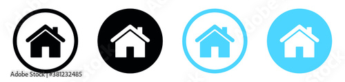 Photo Web home icon for apps and websites, House icon, Home sign in circle or Main pag