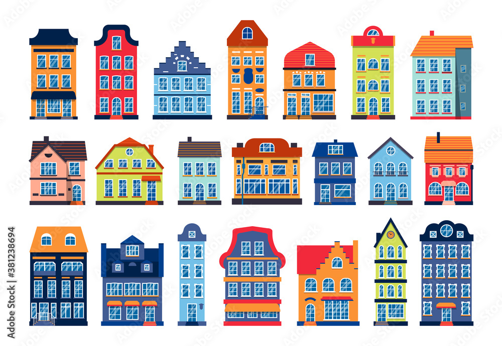 Fototapeta Cartoon houses colorful architecture Amsterdam set. Different graphic icon townhouse, european style. Flat urban building tall town and suburban home cottage. Isolated on white vector illustration