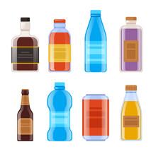 Bottle Template Mock Isolated Set. Vector Flat Graphic Design Cartoon Illustration