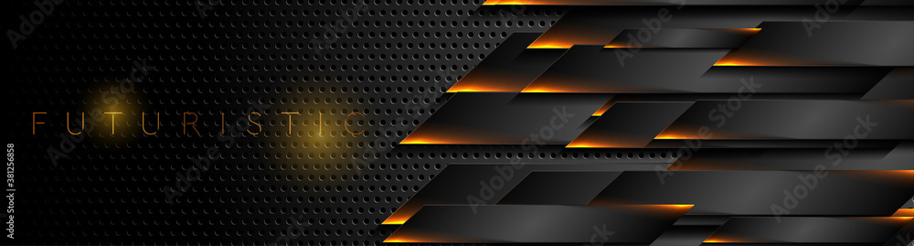 Futuristic black perforated technology background with orange neon lines. Glowing vector banner design