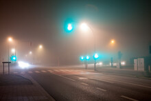 Traffic Lights In Thick Fog