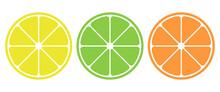 Set Of Citrus Fruit Icon. Lemo...
