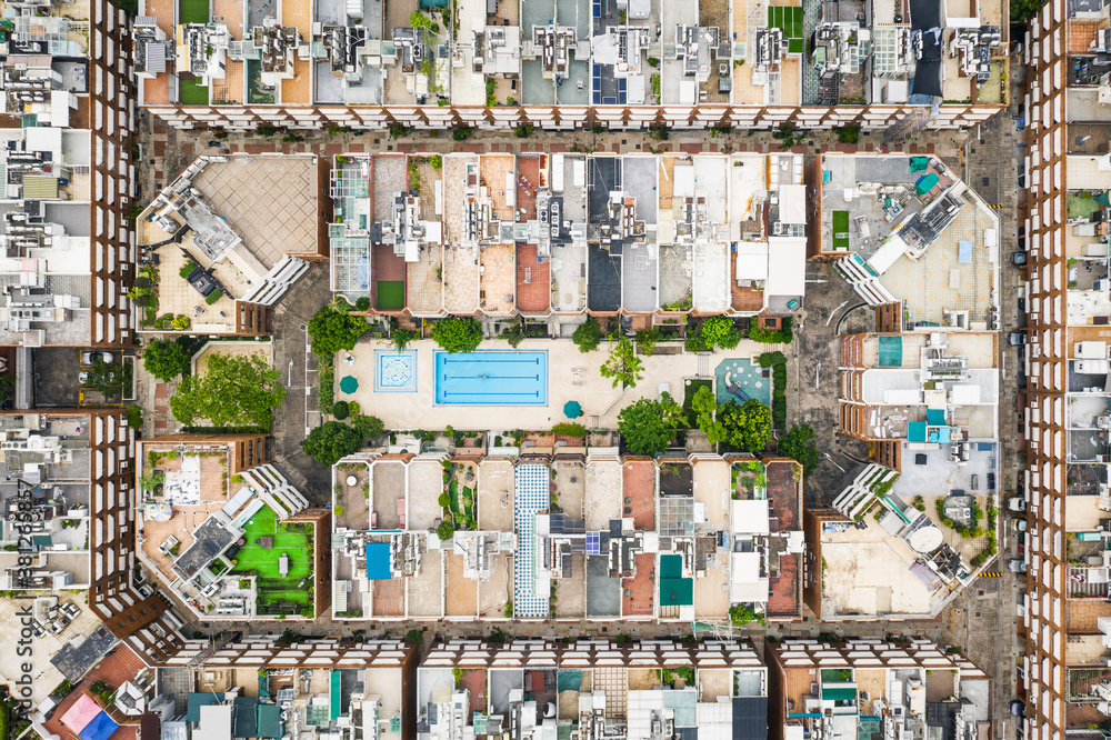 Fototapeta Amazing aerial view cityscape of Kowloon Tong, residential district of Hong Kong, daytime