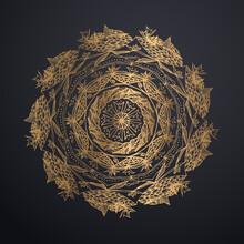 Golden Mandala Isolated On Bla...