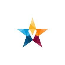 V Letter Star Abstract Colorful Logo Design
