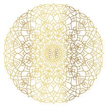 Mandala With Golden Gradient. ...