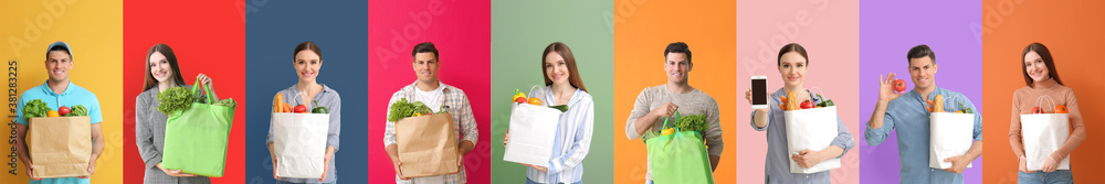 Fototapeta Collage of different people with blank shopping bags on color background