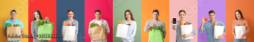 Fototapeta Collage of different people with blank shopping bags on color background obraz
