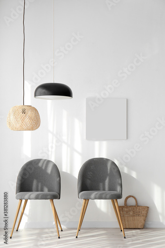 Fotografie, Obraz Blank poster with chairs in minimal interior of room