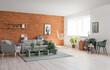 Interior of living room with stylish hammock