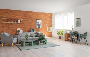 Fototapeta Boks Interior of living room with stylish hammock