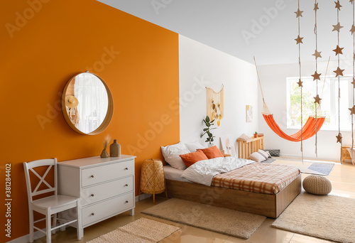 Fotografie, Obraz Interior of living bedroom with stylish hammock