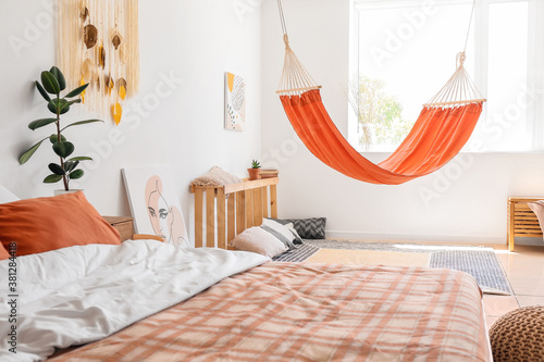 Fototapeta Interior of living bedroom with stylish hammock obraz