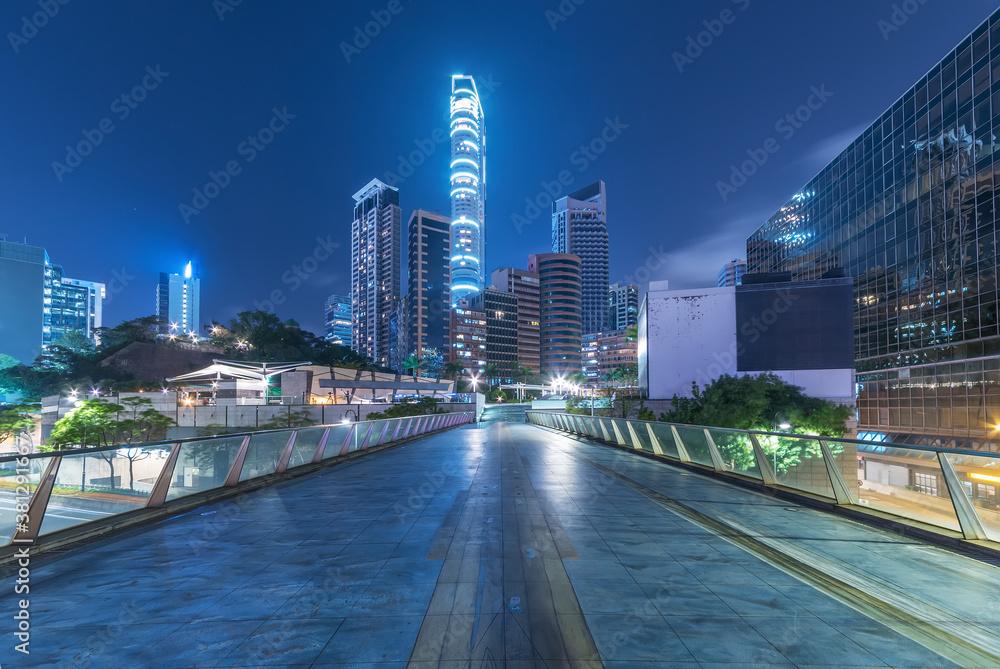Fototapeta Skyline of downtown of Hong Kong city at night