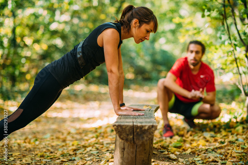 Obraz na plátně Exercising in the Park