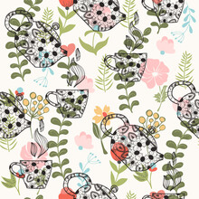 Pattern With Decorative Teapot...
