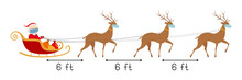 Safe Distance 6 Feet. Santa And Reindeers In Face Masks. Vector Illustration.