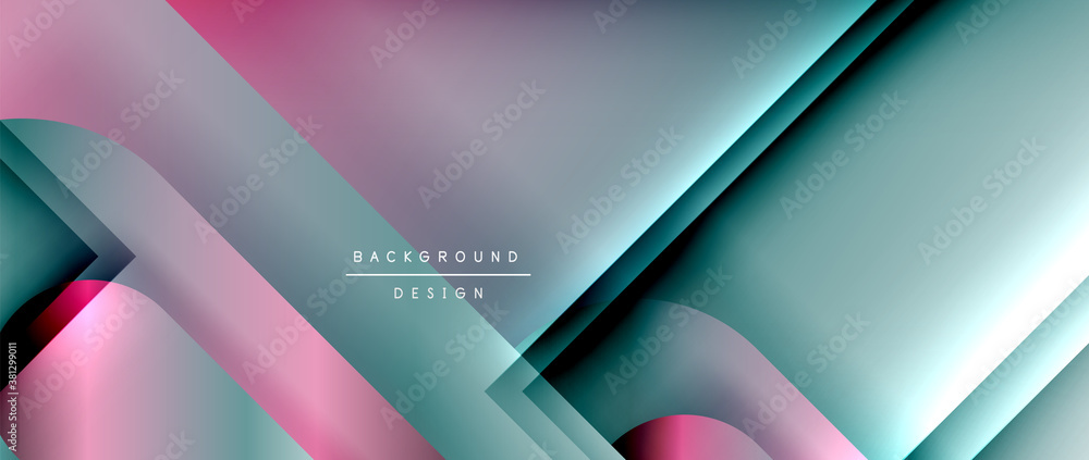 Fototapeta Vector geometric abstract background with lines and modern forms. Fluid gradient with abstract round shapes and shadow and light effects