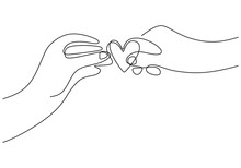 Continuous One Line Drawing Of Hands Holding Heart. Person's Hand Receives A Symbol Of Love From Someone Else's Hand Isolated On White Background. Love Story Theme. Vector Design Illustration