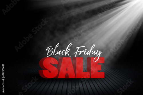 Fototapeta Black Friday sale background with room interior and spotlight obraz