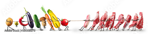 Healthy eating concept. Vegetables and meat play tug of war.