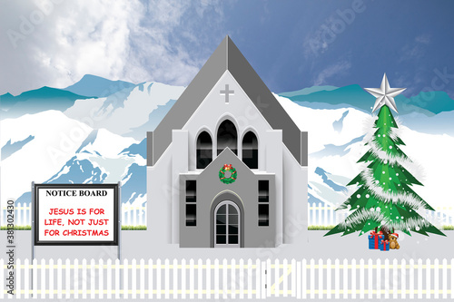 Photo Christian parish church with Jesus is for life not just for Christmas message on