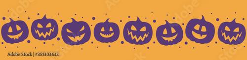 Fototapeta Funny pumpkin icons. Halloween banner. Vector obraz