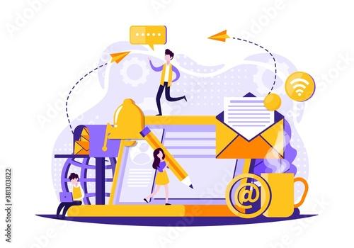 sending message technology flat illustration of messaging. Vector illustration