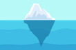 Iceberg floating in ocean. Arctic water, sea underwater with berg and freezing light. Polar or antarctica melting mountain vector landscape. Illustration arctic ice berg, freeze antarctica in ocean