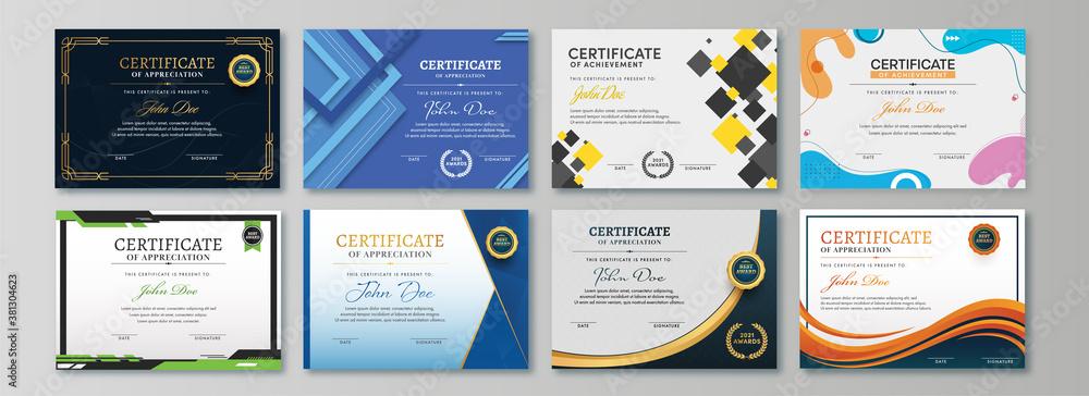 Fototapeta Appreciation & Achievement Certificate Template Design in Eight Options.