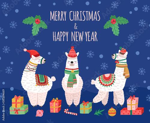Naklejka premium Llama christmas background. Doodles llamas, wild baby animals holiday card. Wool alpaca wear santa hat, funny winter xmas vector poster. Alpaca and llama in christmas scarf and hat illustration