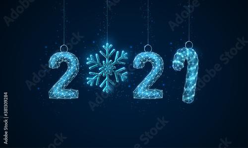 Fototapeta Happy 2021 New Year greeting card with Christmas toys obraz