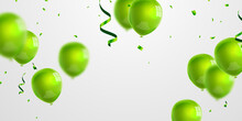 Celebration Party Banner With Green Balloons Background. Sale Vector Illustration. Grand Opening Card Luxury Greeting Rich.