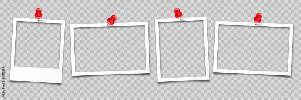 Realistic empty photo card frame, film set. Retro vintage photograph with push pin. Digital snapshot image. Template or mockup for design. Vector illustration.