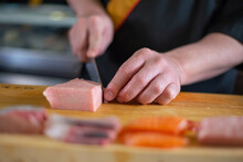 Japanese Chef Is Neatly Cuttin...