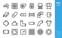 Industrial Ventilation Isolated Icon Set. Set Of Exhaust Fan, Industrial Centrifugal Fan, Flat Air Duct, Ventilation Pipes, Vent Grille, Air Filter Vector Icons