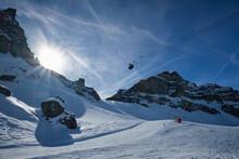 View Of A Ski Resort Piste Wit...