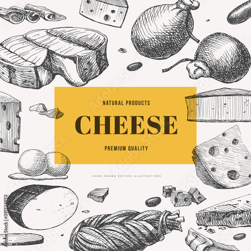 Set of hand-drawn cheeses on light background Wallpaper Mural