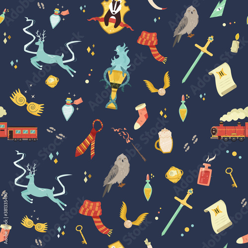Fotomural Seamless pattern with magic items and tools.