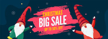 Big Sale Header Or Banner Design With 50% Discount Offer And Two Cartoon Gnome Character For Christmas Celebration.