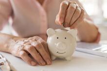 Old Women's Hands Put Money Co...