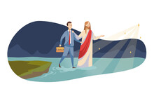 Religion, Christianity, Business, Support, Success Concept. Jesus Christ Son Of God Messiah Leading Young Happy Businessman Walking On Water To Shining Star. Heaven Blessing Help And Goal Achievement.