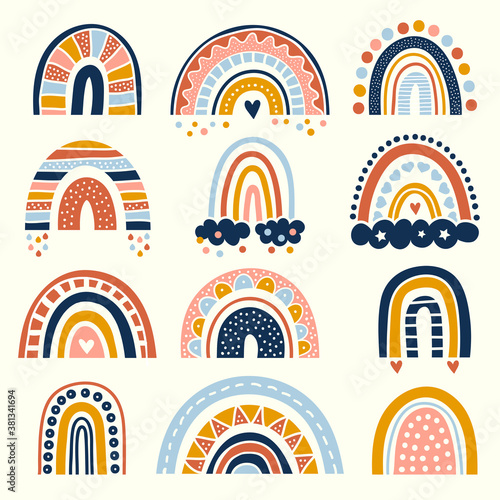 Abstract rainbow. Scandinavian graphic curved stylized lines decoration for kids shapes of rainbow vector drawing set. Scandinavian abstract rainbow collection illustration design