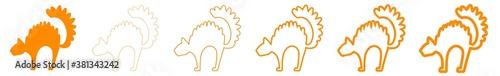 Cat Icon Orange | Cats Illustration | Halloween Symbol | Spooky Cartoon Logo | K Wallpaper Mural
